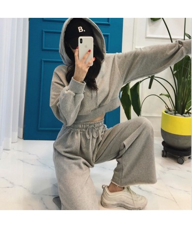 Autumn black gray solid tracksuit for women crop tops+bell-bottomed pants two piece set hoodies casual sporting suits ladies...