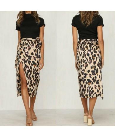 Summer Skirts HOT Women's Lace Up High Waist Wrap Over Asymmetric Side Split Skirts Sexy Leopard Pattern Skirt - 1 Leopard -...