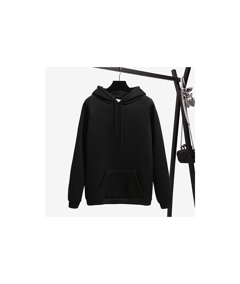 Warm Hooded Female Sweatshirt Winter 2019 Autumn Solid Kpop Hoodies Women Polerones Ladies Pullover Sweat Femme - Black - 4A...