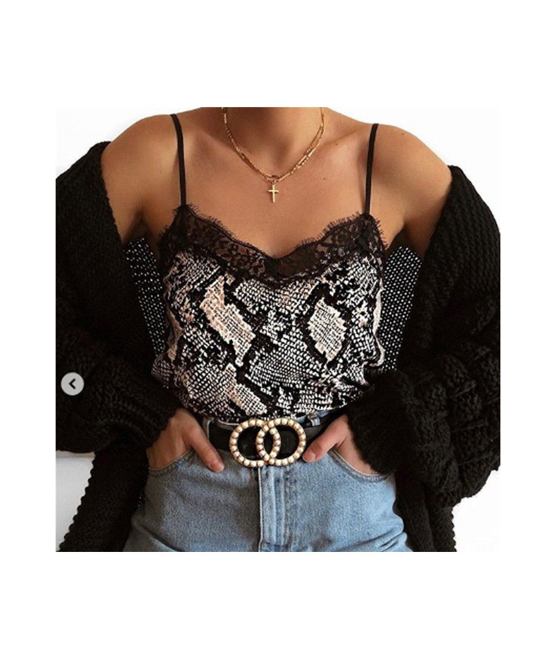 Trendy Women clothes Sexy Casual Off Shoulder lace Tanks Tops V-neck strap Polyester pullover Geometry Vest one pieces - Gra...