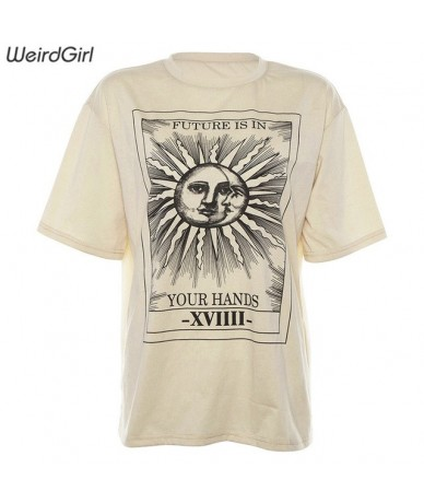 Women casual fashion t-shirt khaki letter sun moon print loose o-neck half sleeve elastic stretched summer home new - Khaki ...