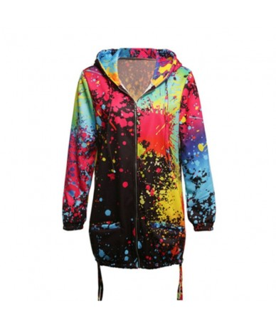 Autumn Women Ladies Zipper Tops Hoodie Hooded Colorful Graffiti Coat Jacket Casual Slim Thin Jumper - Black - 414112967452-1