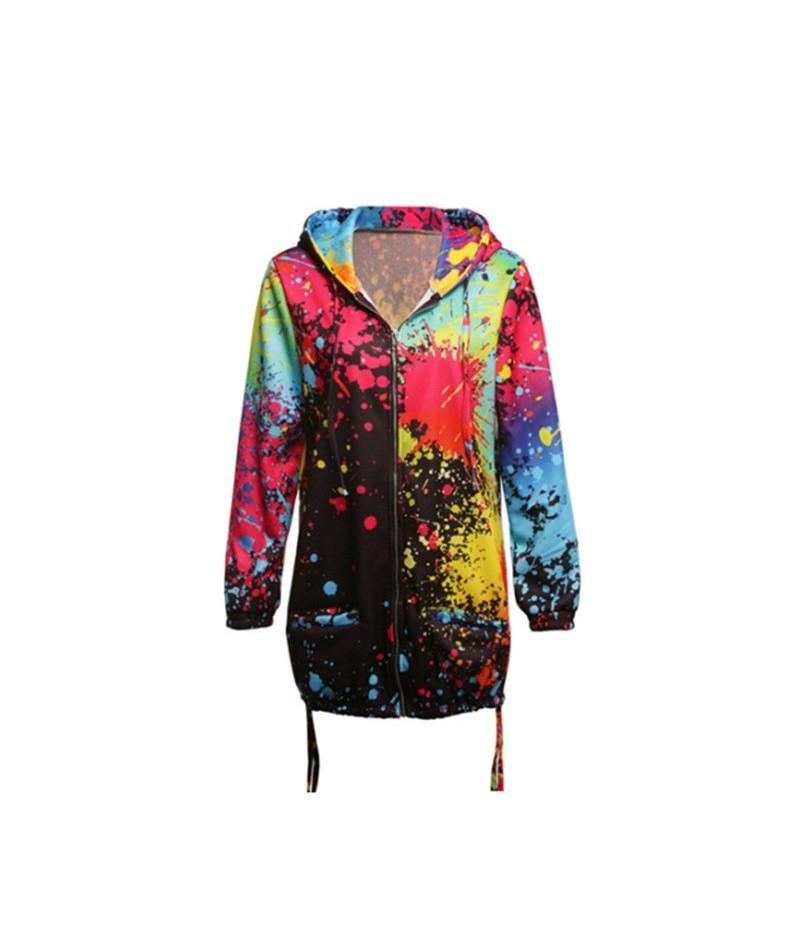 Autumn Women Ladies Zipper Tops Hoodie Hooded Colorful Graffiti Coat Jacket Casual Slim Thin Jumper - Black - 414112967452-1