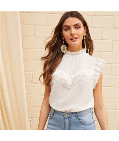 White Frill Neck Ruffle Armhole Mesh Lace Insert Blouse Women Top 2019 Sleeveless Summer Womens Tops And Blouses - White - 4...