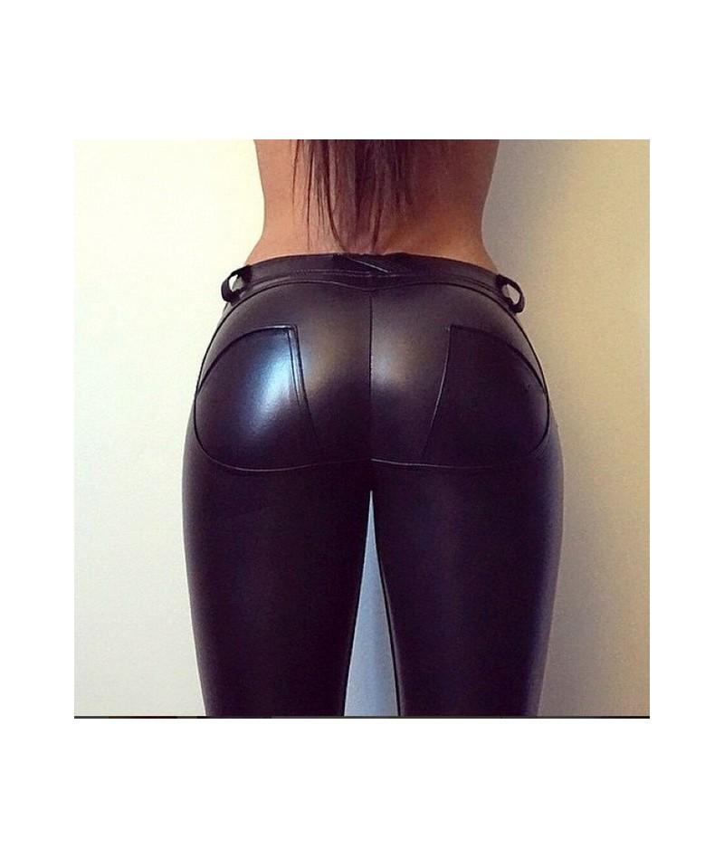 GENPRIOR Peach Push Up Hip Skinny Leggings Leather Pants Women PU High Elastic Fitness Legging Exercise Trousers Pencil Pant...