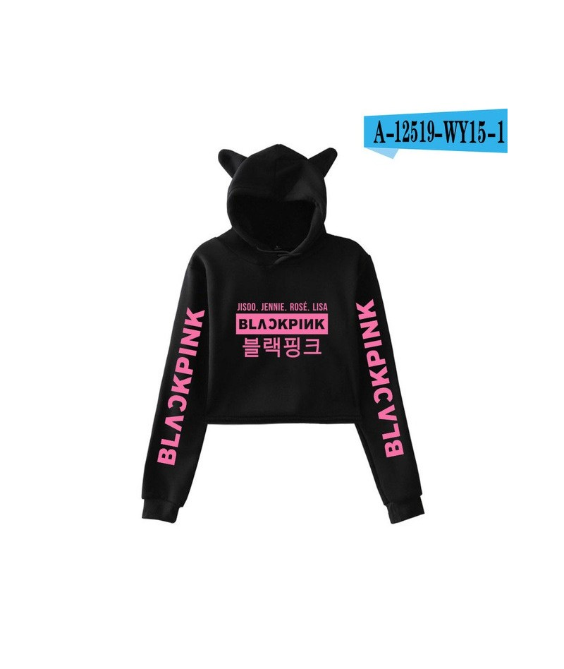 Blackpink kpop harajuku Cat Ear Cap top Hoodies women Black pink kpop sweatshirt cotton kawaii korean Hoodies clothes - blac...