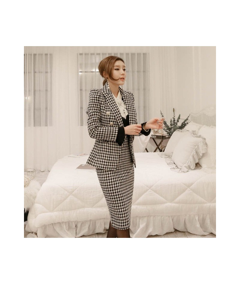 2019 New Women's Skirt Blazer Suits Plaid Notched Long Sleeve Double Breasted Top Mid Split Skirt Office Lady S91905J - plai...