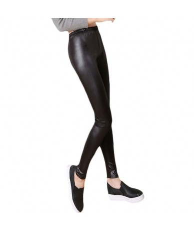 Fashion Casual Leather Leggings Sexy Women Cropped Elastic Leggins Thin Leggings - NO.BK legging - 4U3998836680-1