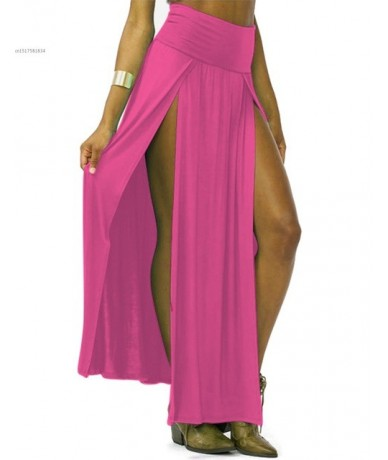 2019 New Arrival High Waisted Sexy Womens Double Slits Summer Solid Long Maxi Skirt Wholesale 51 Valentine's Day Gifts - ros...