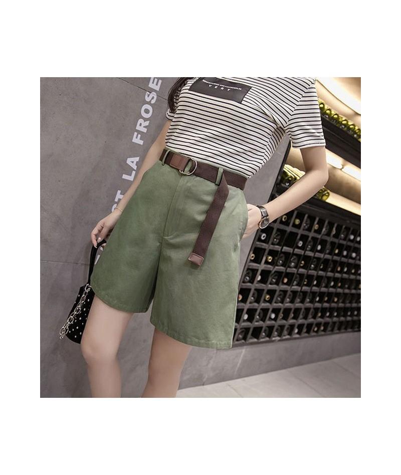 2019 Summer women's wide leg high waist cargo shorts version of the belt large size student shorts Harajuku wind tooling sho...