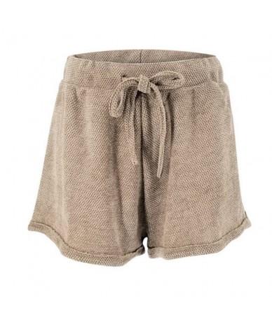 Summer Drawstring Shorts Women 2019 Casual High Waist Solid Shorts Feminino - Coffee - 4G4111051154