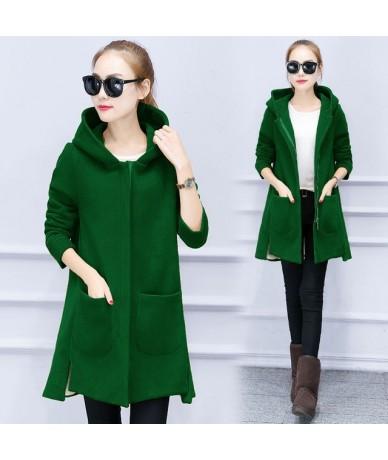 Autumn Winter Women's Fleece Jacket Coats Female Plus Size Long Hooded Coats Outerwear Warm Thicken Slim Hoodies Jackets Q16...