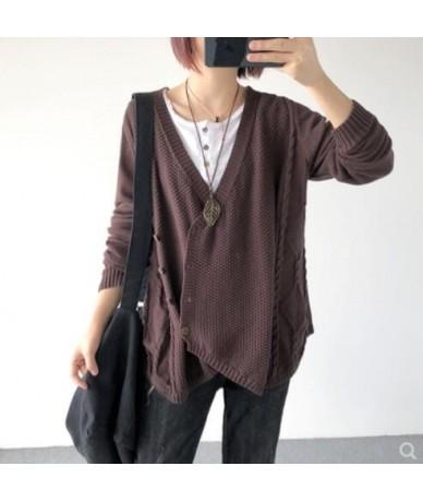 Korea irregular v-neck Sweater Autumn Spring 2019 Women Thin Loose loose long-sleeve knit cardigan Fashion sweater - 5 - 433...