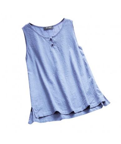 New Fashion 2019 Women O-neck Button Pure Color Plus Size Vintage Sleeveless Vest Girls Summer Hot Sale Linen Loose Tank Top...