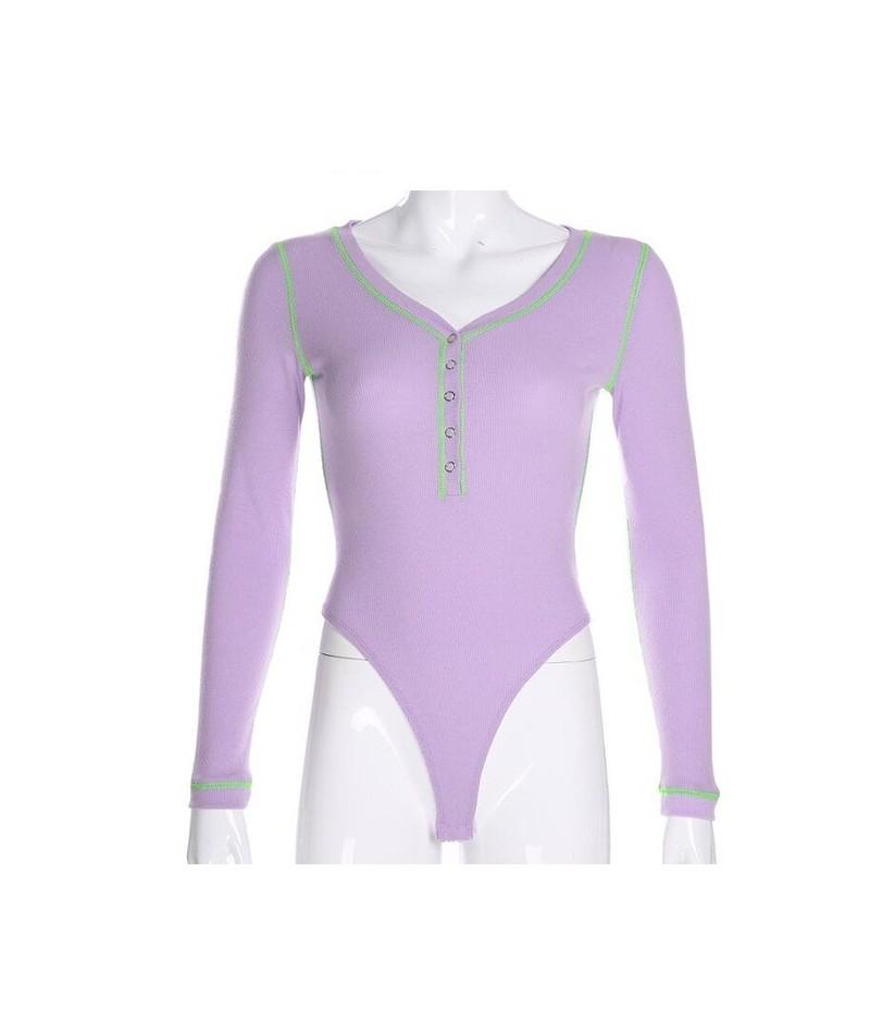 New fashion skinny long-sleeved jumpsuit - Purple - 5J111226257432