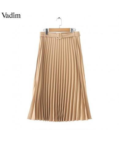 women basic pleated midi skirt with belt faldas mujer side zipper office wear female casual solid mid calf skirts BA424 - Kh...