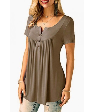 Womens Casual Short Sleeve Loose T-Shirts Solid Color Button Pleated Tunic Tops v-neck female pullover tops summer clothes -...
