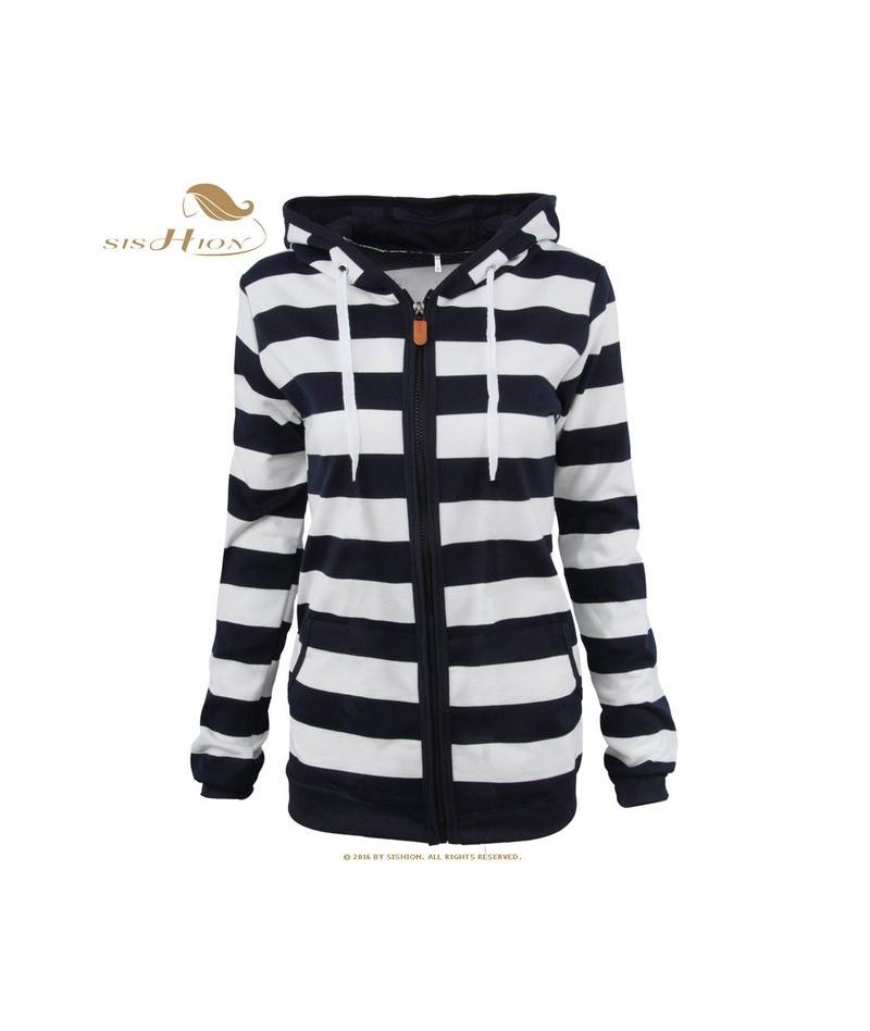 hoodies sweatshirt VD1157 2019 Women Autumn Long Sleeve Striped Slim hoodies women warm coat - Black - 444160682079
