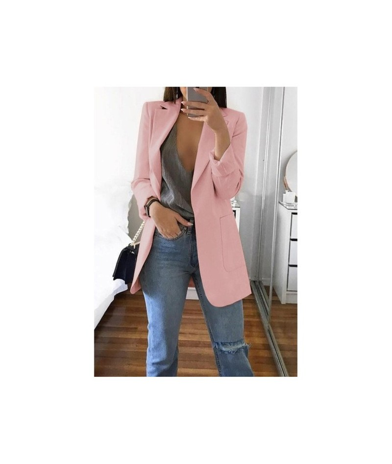 New Women Suit Solid Casual Notched Collar Female Office Suit Autumn 2019 High Quality Coat Tops - Pink - 57111186452670-11