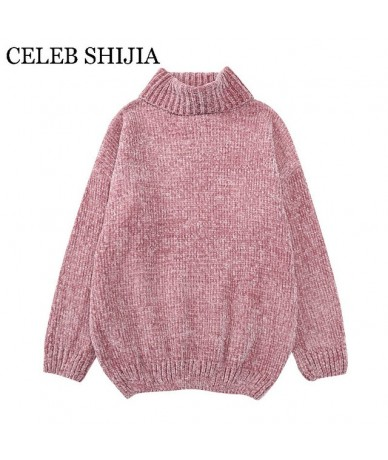 2019 New arrived woman sweaters turtleneck keep warm Chenille pullover for woman long sleeve autumn green velvet sweater fem...