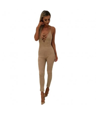 Women Spaghetti Strap Skinny Jumpsuits Outfits Lace Up Faux Suede Ninth Length Rompers Bodycon Jumpsuit Bodysuit - Khaki - 3...