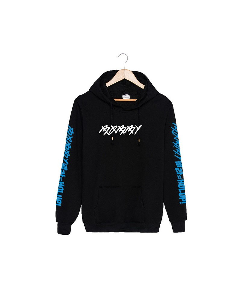 KPOP Korean Fashion IKON BOBBY SOLO HOLUP Album Cotton Hoodies With Hat Clothes Pullovers Sweatshirt PT212 - Black and Blue ...