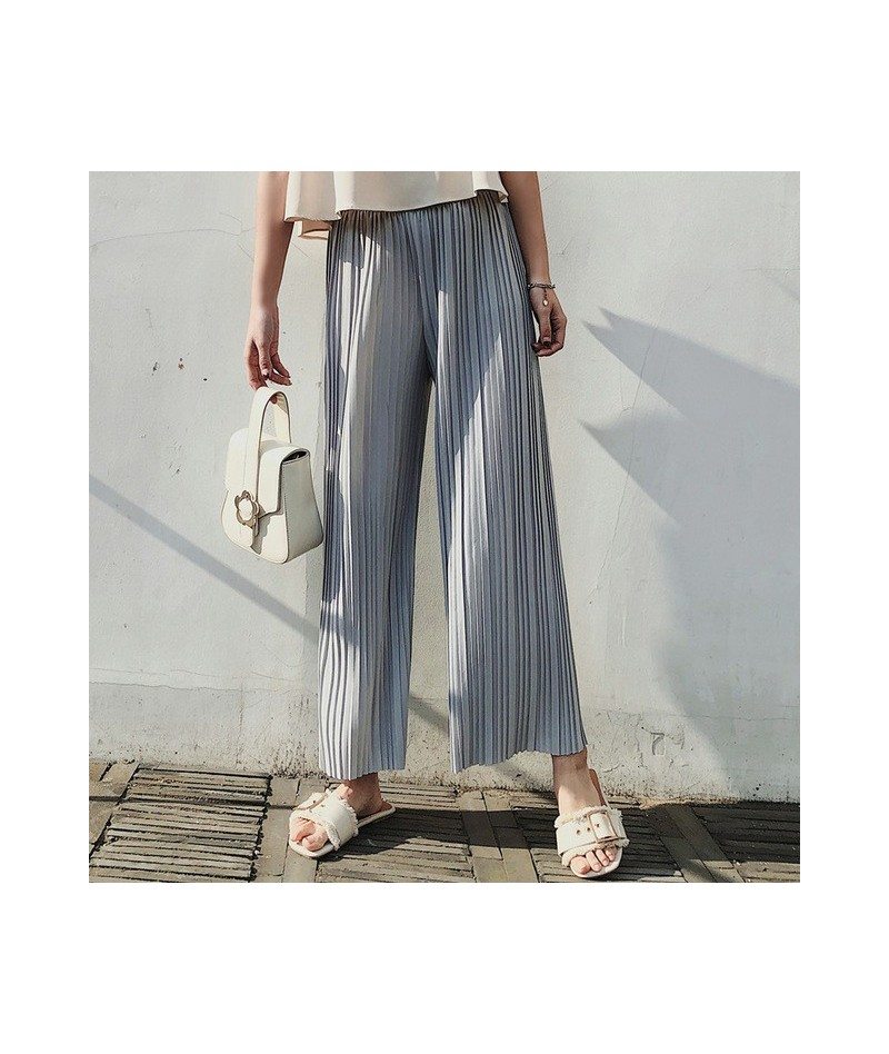 New Fashion 2019 Casual Solid Ankle-length Pants Female Loose Elastic Waist Pleated Chiffon Wide leg Women Pants for Spring ...