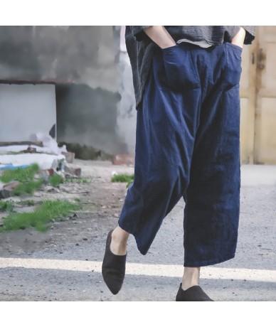 Women Cross pants 2019 Spring New Casual Loose Cotton Linen Trouser 2 Colour Vintage Elastic Waist Pockets Pants - Navy blue...
