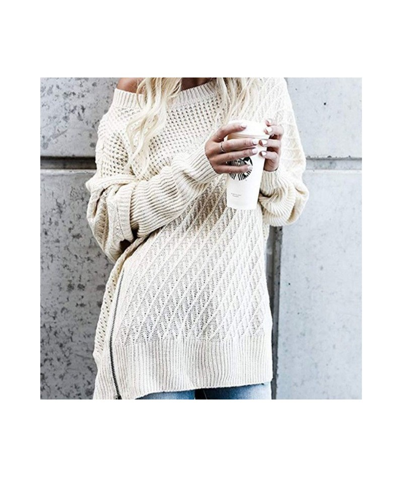 Autumn Knitted Sweater Women Winter Off Shoulder Pullover Sexy Warm Sweaters and Pullovers Loose Ladies Sweaters Batwing Sle...