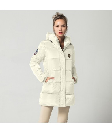 Long Down Parkas Female Women Winter Coat Thick Warm Cotton Hooded Jacket Womens Outerwear Parkas for Women FICUSRONG - Whit...