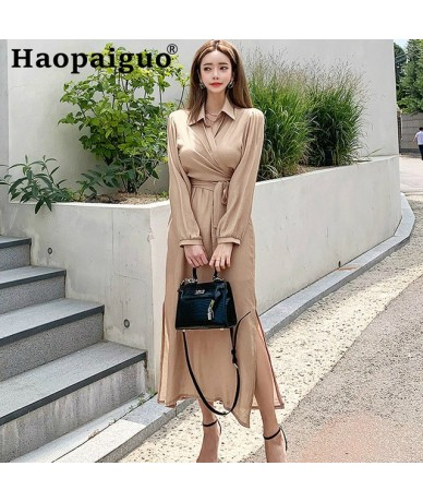 Plus Size Autumn Winter Casual Two Piece Set for Women Long Sleeve Blouse with Sashes and Spaghetti Strap Long Dress Women S...