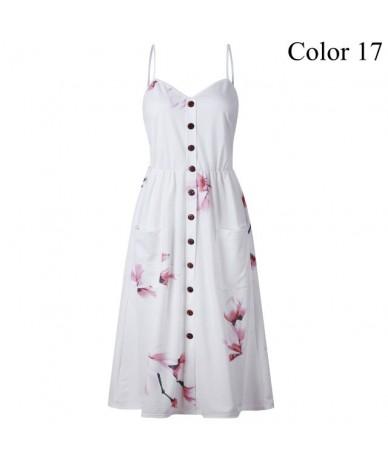 2019 Summer Women Button Decorated Print Dress Off-shoulder Party Beach Sundress Boho Spaghetti Long Dresses Plus Size FICUS...