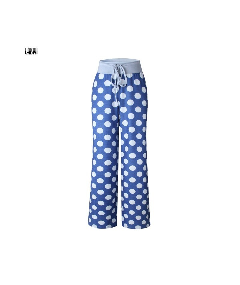 Women Casual Loose Pants 2019 Lace Up Printed Wide Leg Pants Boho Floral Trousers Fashion Flag Camouflage Pattern Pants - Do...