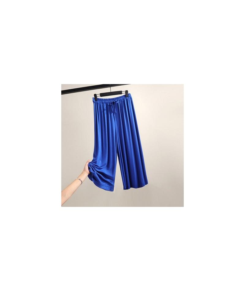 Cozy Modal Thin Wide leg Pants Female Summer Large size Elastic Waist Loose Straight Casual Pants Women High waist Trousers ...