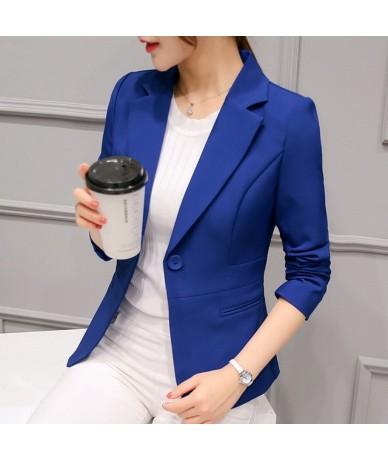 2019 Women's Blazer Pink Long Sleeve Blazers Solid One Button Coat Slim Office Lady Jacket Female Tops Suit Blazer Femme Jac...