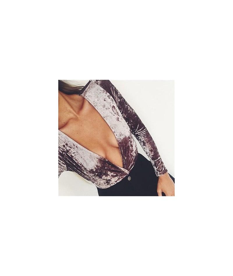Women Lady Celeb Velvet Deep V Pile Neck Playsuit Jumpsuit Bodycon Long Sleeve Christmas jumpsuit - Brown - 463804207966-1