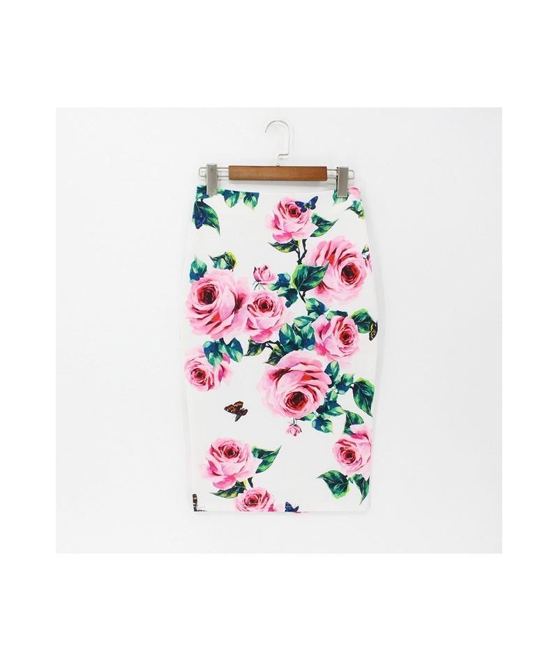2019 Spring Summer Pencil Skirt Women High Waist Floral Print Midi Skirt Vintage Elegant Bodycon Office Lady Style - 164 - 4...