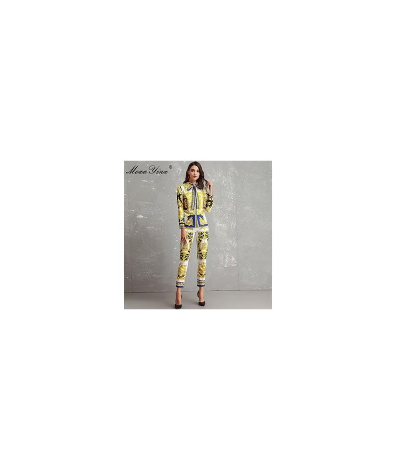 Fashion Designer Set Women's High Quality Long Sleeve Vintage Printed Elegant Shirt+3/4 Pencil pants Two-piece suit - Gold -...