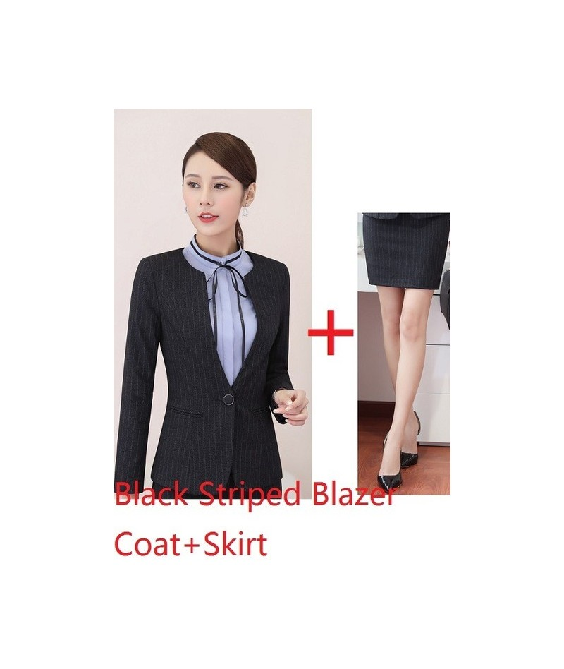 New Fashion Striped Fall Winter Blazers Suits With 2 Piece Jackets And Skirt For Business Women Uniform Styles Sets Plus Siz...