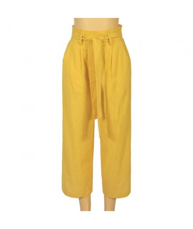 Casual Pants High Waist Autumn Belted Wide leg pants Slacks Women's Trousers With A Belt Summer Trousers For Women - YELLOW ...