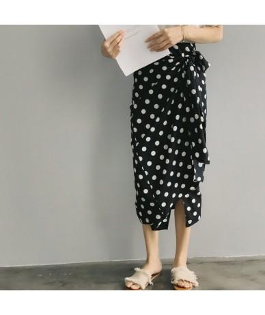 Korean Style Summer New Women Polka Dot Pencil Skirt Bow Saia Harajuku Korean Style High Waist Long Fit HighWaist Female Ski...