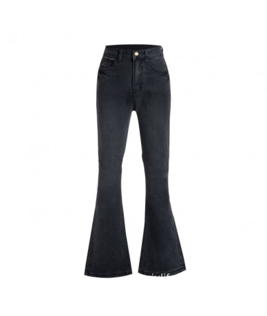 High Waist Jeans Woman 2019 Black Mom Denim Stretch Solid Casual Flare Wide Leg Bell Bottom Elastic Long Trousers Pants New ...