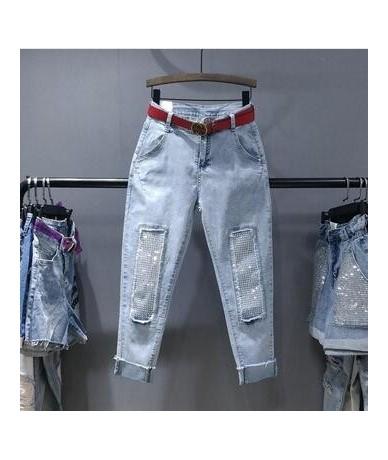 Fashion Rhinestones diamond high waist women denim pants casual jeans ankle length loose harem pants J463 - blue - 5V1111834...
