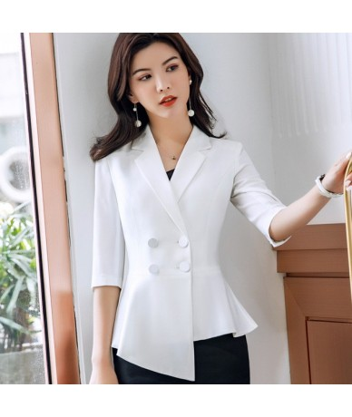 Women Red blazer Slim Spring Autumn new Elegant Office Lady Jacket OL temperament formal business uniforms - White blazer - ...