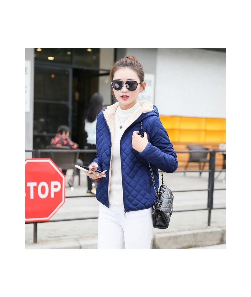 Autumn 2018 New Parkas basic jackets Female Women Winter plus velvet lamb hooded Coats Cotton Winter Jacket Womens Outwear c...