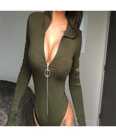 Zip Front Ripped Long Sleeve Hooded Bodysuit Sexy Hollow Out Romper Sexy V-neck Long Sleeve Bodysuit Large Size - as the pic...