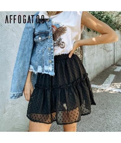Casual polka dot ruffle summer pink skirt women A line high waist pleated short skirt Floral print chiffon beach skirt - Bla...