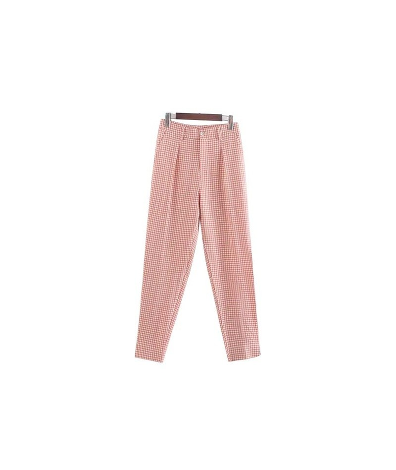 women pink plaid pants checkered zipper fly pockets straight female casual ankle length trousers KB075 - Multi - 5D111127142848