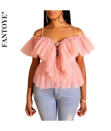 Off Shoulder Women's Tank Top 2019 Summer New Backless Sexy Peplum Tops For Women Vintage Elegant Mesh Ruched Top Tees - Pin...