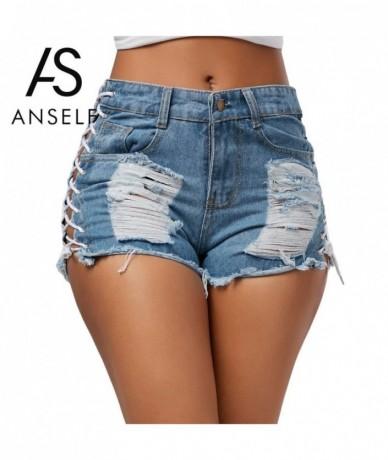 Ripped Jeans Shorts Sexy Summer Women Holes Denim Shorts High Waist Lace-Up Bandage Pockets Hot Short Feminino Black/Blue - ...